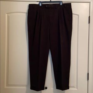 Black, pleated & cuffed work pants.